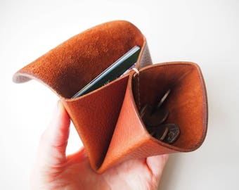 Leather Origami Wallet, Small Leather Wallet, Leather Coin Purse, Coin Case, Leather Card Case, Travel Jewellery Case - Tan