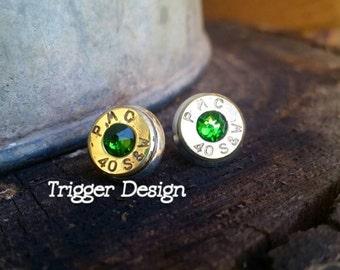 40 Caliber Bullet Casing Post Earrings- Dark Green