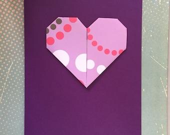 Origami large greeting card - purple spot print heart shape on purple