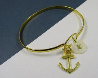 Anchor Bangle, bangle, Anchor bracelet Anchor, Anchor jewel, Initial letter Bracelet charm anchor