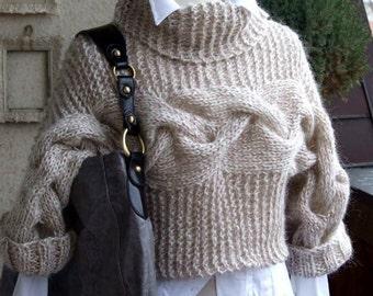 BRAIDED SHRUG modern urban in caffee latte, hand knitted shrug bolero sweater, winter fall fashion,  gift under 100 dollars