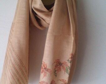 beige silk shawl/stole