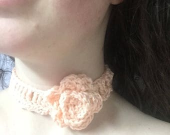 Crochet choker with added flower