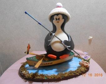 Fisherman penguin painted gourd