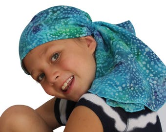 Ava Joy Children's Pre-Tied Head Scarf Girl's Cancer Headwear Chemo Head Cover Alopecia Hat Head Wrap Cancer Gift Hair Loss Blue Tie Dye