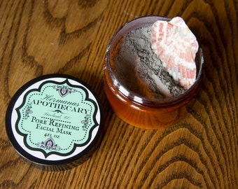 Pore Refining Mask 4oz - Hermanas Apothecary - All Natural and Organic - Clay and Activated Charcoal Mask - reduces blackheads and blemishes