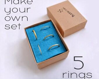 Minimal Rings Set Of 5 / Gifts for Women / Stacking Rings / Everyday Rings / Stackable Rings Pack / Wire Rings /Cute Rings / Multi Rings