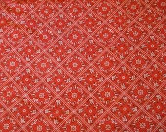 Vintage Red Paisley Lattice Western Bandana Cotton Blend Fabric 43x87