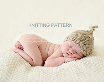 Printable KNITTING PATTERN Top Knot Hat - newborn, baby, photo prop, DIY, instant download