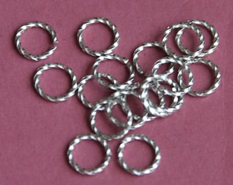 100 pcs of Antiqued silver plated fancy jumpring 9mm round 16 gauge