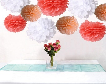 Bulk 18pcs Mixed Coral Peach White DIY Tissue Paper Flower Pom Poms Wedding Birtday Bridal Shower Hanging  Party Decoration