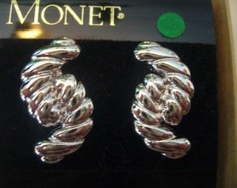 Vintage 1980's Monet, Silver Tone Pierced Earrings