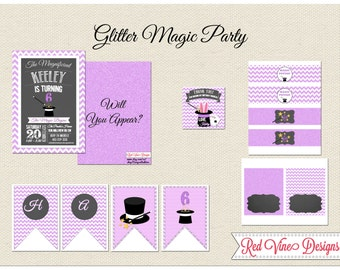 Glitter Magic Party Printables