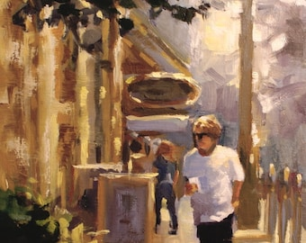 Original oil painting canvas panel city art cityscape gift ideas gifts figure oil painting figurative oil painting