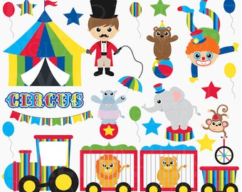 circus clip art clipart digital carnival clowns animals - Cute Circus Digital Clipart - BUY 2 GET 2 FREE