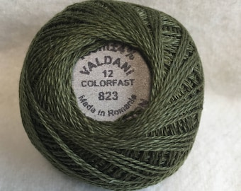 Valdani 823 Dark Olive Green Solid Color Size 12 Pearl Cotton Hand Dyed Thread