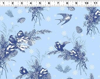 Fat Quarter A Winter's Tale Birds Blue 100% Cotton Quilting Fabric Clothworks