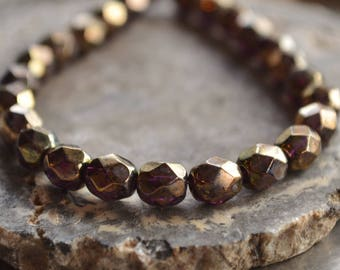 30 Antique Bronze Czech Picasso Beads- 6mm Firepolished Faceted Round- Gilded Amethyst (358-30)