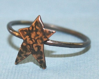 Hammered Copper Rustic Star Ring