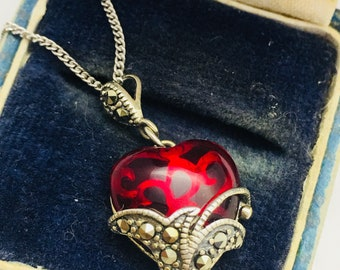 Sterling Silver Red Glass and Marcasite Heart Necklace