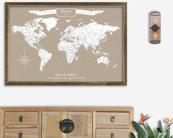 World Travel Push Pin Map World Wall Map World Travel Art World Map Wall Art Framed Customized Anniversary Gift for Wife Fun Special Gift