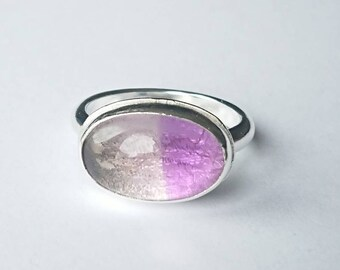 Sterling silver handmade two tone amethyst ring, hallmarked in Edinburgh