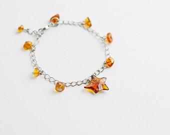 Natural baltic amber bracelet / Tiny amber bracelet with star