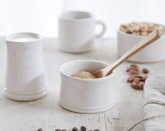 White sugar bowl