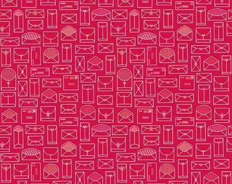 SPRING SALE - 5 Yards - Quilt Backing Cut - Lovebugs - Envelopes in Red  - C5052-Red - Doodlebug Designs - Riley Blake