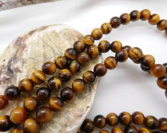 30 pearls natural tiger eye round 6mm