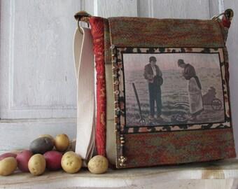 Unique messenger Bag over the shoulder one of a kind potato bag school bag adjustable strap lots of pockets