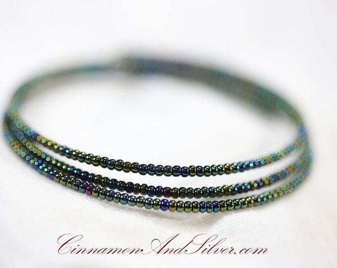 Olive Green Iridescent Shimmer Hippie Seed Bead Adjustable Memory Wire Bangle Bracelet, Shimmering Olive Coil Wrap Seed Bead Bracelet