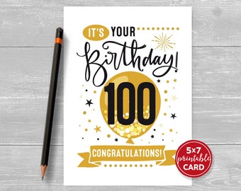 """Printable 100th Birthday Card - Congratulations One Hundred Balloon Birthday Card - 5""""x7"""" and printable envelope template. Instant Download."""