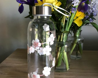 Water bottle, glass water bottle, cherry blossom, drink more water, Healthy, fitness, diet,  hand painted glass, losing weight, water, diet