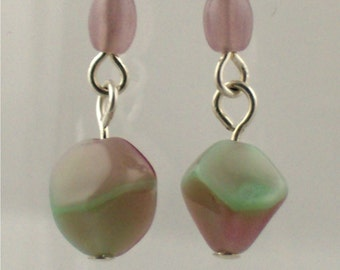Vintage Glass Dangle Earrings in Lavender and Pale Green