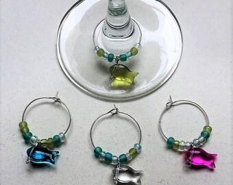 Glass Fish Wine Charms