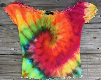 Handmade Small Psychedelic Rainbow Tie Dye Off The Shoulder Lettuce Edge Top - Festival Top - Hippie