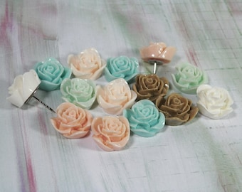 "Decorative Rose Push Pins, Set of 6 or 12, In 2 Lengths -1/4"" and extra long 3/4""-For School, Office, or Home Bulletin Boards Lucite Flowers"