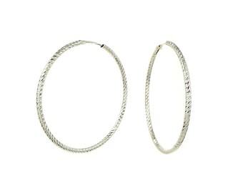 Large Italian Sterling Silver Diamond Cut Endless Hoop Earrings