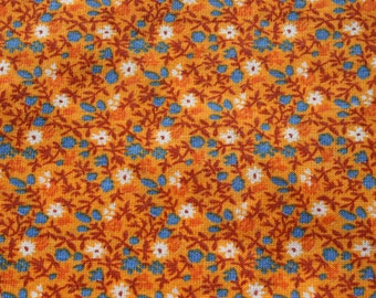 Vintage Smallprint Orange tshirt fabric by the yard, Jersey Knit Floral Flower Material, Stretchy Soft Sewing T-shirt Fabric BTY