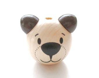 Wooden 3D Teddy bear head bead - natural & chocolate