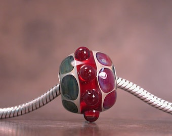 Boro Lampwork Glass Big Hole Bead, Euro Charm Bead, Sterling Core, Divine Spark Designs, SRA