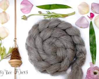 Grey Norwegian Natural Gray Wool Roving Combed Top Spinning or Felting Fiber - 4 oz
