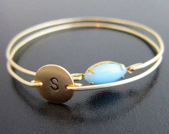 New Mom Jewelry, New Mom Gift, New Mom Bracelet with Initial of Baby Boy Keepsake Blue Stone or Pink for Girl, Mommy Jewelry, Mommy Bracelet