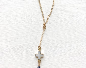 Mother of Pearl and Sapphire Lariat Necklace
