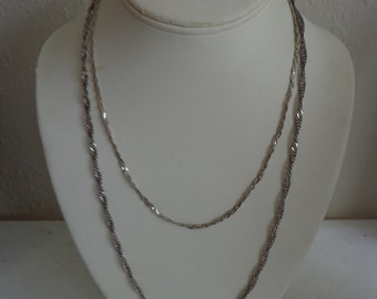 """925 Sterling Silver Chains, 24"""" and 18"""", Oxidized Twisted Serpentine and Bright Braided Serpentine, Vintage Estate"""