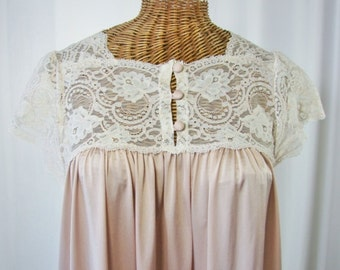 70s Stunning Nightgown Sheer Lace Bodice Open Bust Unworn Small