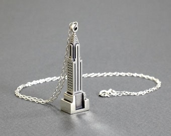 Chrysler Building Necklace - 3D Printed Gold-plated Brass or Sterling