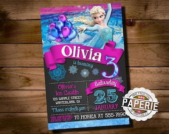 FROZEN PRINTABLE INVITATION, Custom Frozen Invitation, Girls Birthday Party, Frozen Party Decor, Winter Birthday, Pink Frosting Paperie