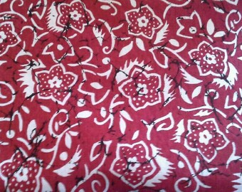 White Floral Print on Red Stretch Knit Fabric 2 Yards X1103